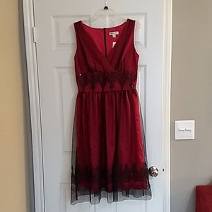 Red, knee length cocktail dress